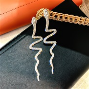 (  Silver)silver occidental style fashion exaggerating fully-jewelled snake long style earrings temperament luxurious ea
