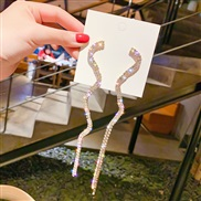 ( Gold)silver occidental style fashion exaggerating snake long style tassel earrings temperament all-Purpose fully-jewel