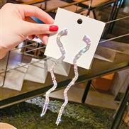 ( Silver)silver occidental style fashion exaggerating snake long style tassel earrings temperament all-Purpose fully-jew