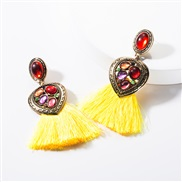 ( yellow)earrings occidental style Alloy Peach heart diamond resin tassel earrings woman temperament Bohemia ethnic styl