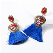 ( blue)earrings occidental style Alloy Peach heart diamond resin tassel earrings woman temperament Bohemia ethnic style