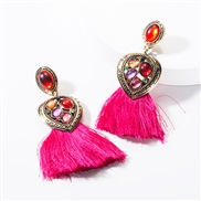 ( rose Red)earrings occidental style Alloy Peach heart diamond resin tassel earrings woman temperament Bohemia ethnic st