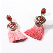 ( Pink)earrings occidental style Alloy Peach heart diamond resin tassel earrings woman temperament Bohemia ethnic style