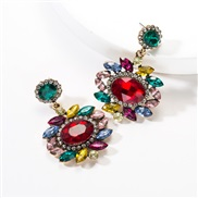 ( Color)occidental style exaggerating multilayer Round flowers diamond Acrylic fully-jewelled earrings woman retro Bohem