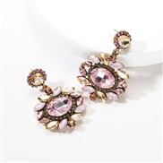 ( Pink)occidental style exaggerating multilayer Round flowers diamond Acrylic fully-jewelled earrings woman retro Bohemi
