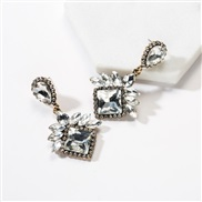 ( white)occidental style exaggerating multilayer drop square diamond Acrylic fully-jewelled earrings woman super tempera
