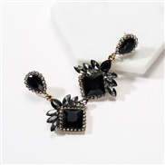 ( black)occidental style exaggerating multilayer drop square diamond Acrylic fully-jewelled earrings woman super tempera