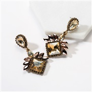 ( Gold)occidental style exaggerating multilayer drop square diamond Acrylic fully-jewelled earrings woman super temperam