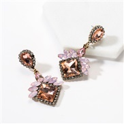 ( Pink)occidental style exaggerating multilayer drop square diamond Acrylic fully-jewelled earrings woman super temperam