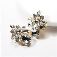 ( white)earrings exaggerating drop Acrylic diamond geometry fully-jewelled earrings woman occidental style ear stud wind