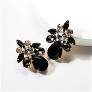 ( black)earrings exaggerating drop Acrylic diamond geometry fully-jewelled earrings woman occidental style ear stud wind