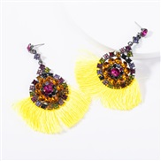 ( yellow) occidental style multilayer Acrylic diamond Round flowers tassel earrings woman retro temperament Bohemian sty