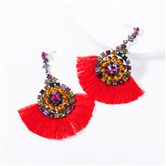 ( red) occidental style multilayer Acrylic diamond Round flowers tassel earrings woman retro temperament Bohemian style