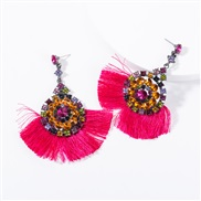 ( rose Red) occidental style multilayer Acrylic diamond Round flowers tassel earrings woman retro temperament Bohemian s