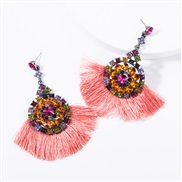 ( Pink) occidental style multilayer Acrylic diamond Round flowers tassel earrings woman retro temperament Bohemian style