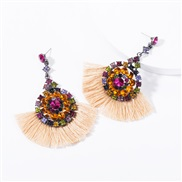 ( Beige) occidental style multilayer Acrylic diamond Round flowers tassel earrings woman retro temperament Bohemian styl