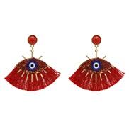 ( red)fashion tassel eyes earrings  occidental style fashion Earring same style  diamond Street Snap earring