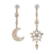 ( white)occidental style classic style star Moon earrings Korea fine diamond earring