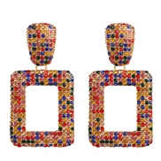 ( Color)occidental style wind fashion multicolor earring geometry square exaggerating earrings ear stud