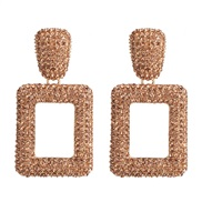 ( champagne)occidental style wind fashion multicolor earring geometry square exaggerating earrings ear stud