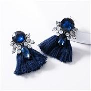 ( blue) occidental style exaggerating Acrylic diamond tassel earrings woman retro temperament Bohemia ethnic style