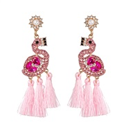 ( Pink)UR personality ethnic style earrings retro tassel earring animal arring