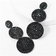 ( black)occidental style exaggerating multilayer Round diamond glass diamond Rhinestone fully-jewelled earrings woman su