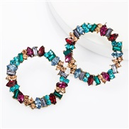 ( Color) styleins wind personality big circle Alloy diamond Rhinestone fully-jewelled earrings woman occidental style fa