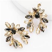 ( Gold)occidental style exaggerating fashion Alloy diamond Rhinestone geometry earrings woman super fully-jewelled ear s