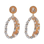 ( white)occidental style fashion earrings geometry glass diamond exaggerating earring