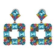 ( blue)occidental style fashion earrings geometry glass diamond exaggerating earring