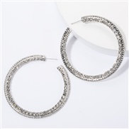 ( Silver)occidental style personality big circle Alloy diamond Rhinestone fully-jewelled earrings woman personality supe