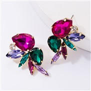 ( Green color)occidental style exaggerating fashion glass diamond diamond colorful diamond earrings woman trend wind ful