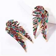 ( Color)creative samll wings Rhinestone diamond earrings woman occidental style exaggerating wind ear stud