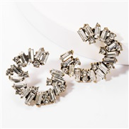 ( white)ins wind personality Word Alloy diamond Rhinestone fully-jewelled earrings woman occidental style trend temperam