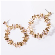 ( Pink)exaggerating occidental style Alloy Rhinestone diamond diamond personality occidental style earrings woman super