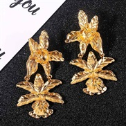 ( Gold)long style exaggerating Irregular flowers Metal earrings occidental style  geometry earring