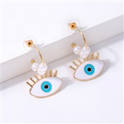 Pearl Alloy geometry eyes earrings occidental style  trend exaggerating personality big long style earring