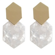 ( white)brief rhombus Metal earrings geometry Acrylic pendant Acetate sheet long style earrings