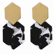 (black and white)brief rhombus Metal earrings geometry Acrylic pendant Acetate sheet long style earrings