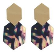 ( Color)brief rhombus Metal earrings geometry Acrylic pendant Acetate sheet long style earrings