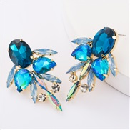 ( blue)occidental style exaggerating multilayer Alloy diamond glass diamond Rhinestone fully-jewelled earrings woman win