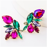 ( red and green)occidental style exaggerating personality Alloy diamond glass diamond fully-jewelled earrings woman fash