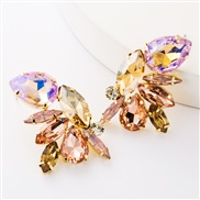 ( Pink)occidental style exaggerating personality Alloy diamond glass diamond fully-jewelled earrings woman fashion tempe