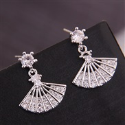 fine   Korean style fashion  bronze embed Zirconium sector personality ear stud