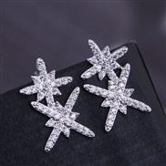 fine   Korean style fashion  bronze embed Zirconium sweetOL flowers personality ear stud