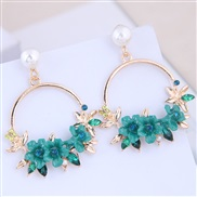 occidental style fashion  Metal concise circle flowers temperament ear stud