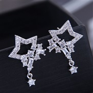 10276 fine 925 silver  Korean style fashion  bronze mosaic zircon shine star personality ear stud