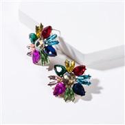 ( Color)occidental style flowers diamond Acrylic fully-jewelled earrings woman retro generous colorful diamond ear stud