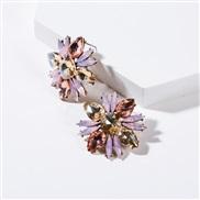 ( Pink)occidental style flowers diamond Acrylic fully-jewelled earrings woman retro generous colorful diamond ear stud e